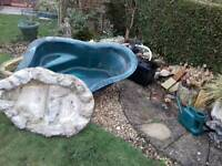 Pond liner pump waterfall fountain