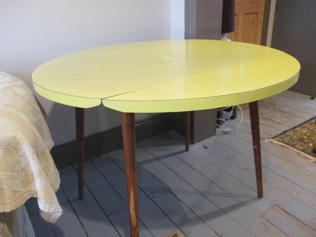 Vintage Retro 1960 S 1970 S Round Circular Drop Leaf Melamine  # Image Table Tv En Melamine