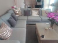 Corner sofa with built in sofa bed and poffy exceptional condition