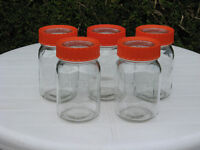 5x 1l Kilner preserving jars, with seals, glass lids and orange screw tops in perfect condition
