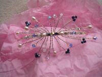 Blue beaded and crystal hairpiece