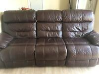 Chocolate Brown Leather three seater sofa £150 ono
