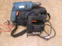 BLACK AND DECKER DRILL AND JIG SAW BOTH 240 VOLTS PLUS TOOL BAG