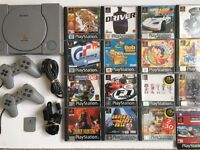 Sony PS1 + 2 Official Controllers + 15 Classic Games Inc Grand Theft Auto Duke Nukem & More