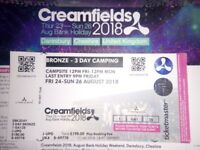Creamfields 3 day Bronze Camping 24th-26th August