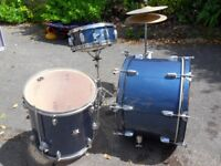 Drum kit- CB Drums. 3 drums and cymbals. Scruffy but ideal for beginner