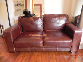FREE! Brown leather sofa, 3 seater