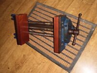 Record no 52 1/2 E wood working quick release bench vice with Hard wood jaw