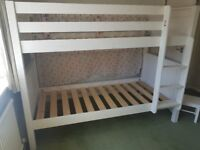 *Stompa white wooden bunk bed, slatted base. Can also be used as two singles