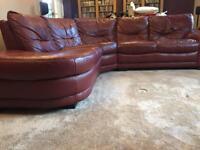 Burgundy Leather corner sofa & armchair