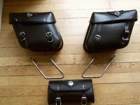 Harley Davidson Leather Saddle Bags and Tool Roll