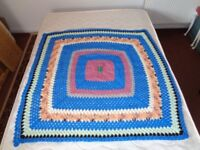Vintage hand made bright coloured Crotchet throw/blanket