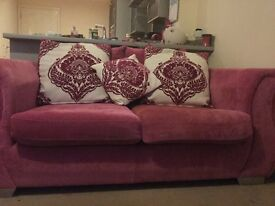 Pink 2 seater sofa x 2 - must be sold