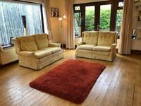 Duresta® 2 X 2 Seater Gold Fabric Sofas Excellent Condition Cost £6000