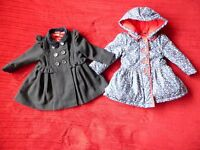 2 BEAUTIFUL girls COATS: pretty flowers, & lovely military style. 9-12 months. EXC cond. May deliver