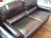 Two brown leather sofas and Armchair ref 10/8