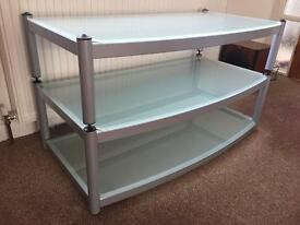 Atacama Equinox AV TV Stand Silver with Glass in Arctic Frost.