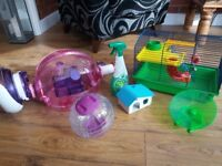 Hamster cages with extra accessories