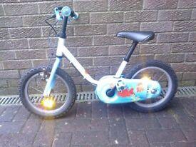 Childs kids b'twin btwin aqua 14 bike - age 3 to 5 years (90 to 105cm)