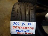 255 35 19 bridgestone runflat tread 7-8mm as new £45 supp & fitted opn till 6pm 7-dys loads more av