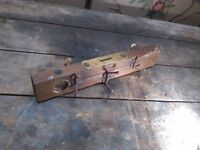 antique wooden spirit level coat hook rack brass oak mantique surrey rusty