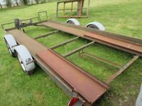 CAR TRAILER, USED, BRAKED, TWIN AXLE, WINCH, RAMPS AND SPARE WHEEL