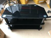 Tempered glass black tv unit stand
