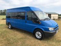 Air Condioned (Front and rear) Ford Transit Minibus - Blue - low mileage excellent condition