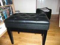 Black adjustable height piano stool