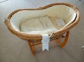 Clair De Lune Wicker Large Moses Basket with M&P's stand Excellent condition