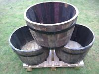SOLID OAK WHISKY BARREL GARDEN TUB £25