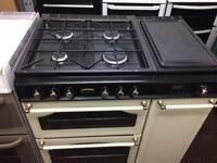 Black & cream stoves 80cm dull fuel cooker grill & fan ovens good condition with guarantee