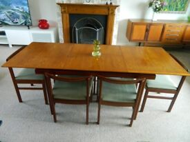 Vintage/Retro White & Newton Scandinavian-style extendable dining table & 6 chairs