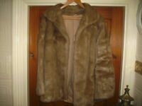 VINTAGE FAUX FUR COAT SIZE 18 IN LOVELY CONDITION -A LUXURY BARGAIN