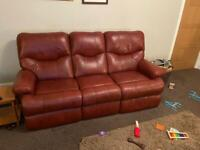 Sherborne Leather sofa and two recliner chairs