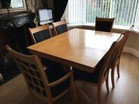 Dining table x 6 chairs and sideboard