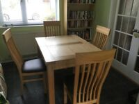 Dining room table and high backed chairs