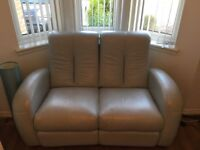 Reid's Pale blue/grey leather sofas 3 and 2 seater
