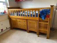 Cabin bed, drawers, desk and bookcase