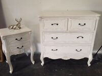 Shabby Chic Dresser and Bedside Table in Antique White