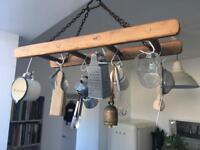 Vintage antique hanging ladder rack