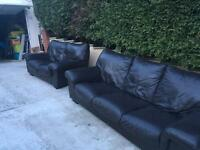 3 & 2 brown leather sofas