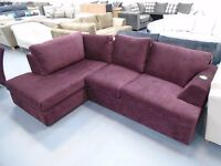 Brand New Plum Velvet Corner Sofa Is £350 With matching 2 Seater £550. Can Deliver. 240cm by 165cm.