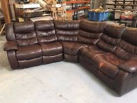 Brown Leather Sofa with two reclining chairs