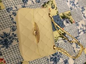 New cream clutch handbag with attachable handle £6