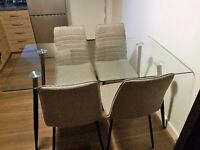 Glass Dining Table and 4 Grey Chairs ****only £120****