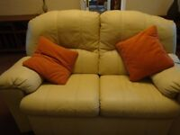 G Plan Cream Leather 2 seater settee and two matching chairs