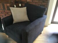 Armchairs - Pair of charcoal grey linen armchairs