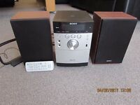 Sony hifi system with USB port,plays CDs,MP3s ,good sound quality,brand new condition.