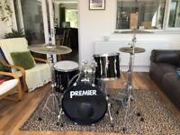 Premier Drum Kit w/ stands, cymbals, pedal and 2 drum bags